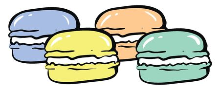 Colorful macarons, illustration, vector on white background.