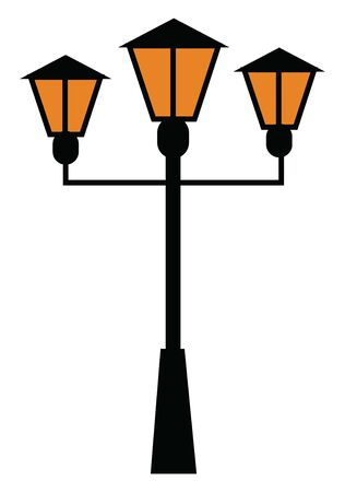 A beautiful street light with three lamps, vector, color drawing or illustration.