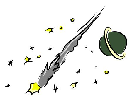 Space meteorite, illustration, vector on white background