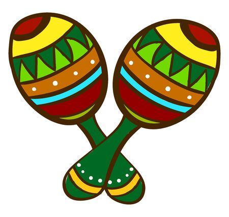 Mexican maracas, illustration, vector on white background.