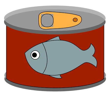 Canned food, illustration, vector on white background. Çizim