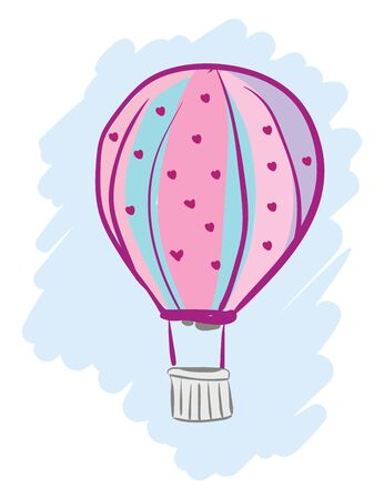 A color pink hot air balloon with hearts, vector, color drawing or illustration.