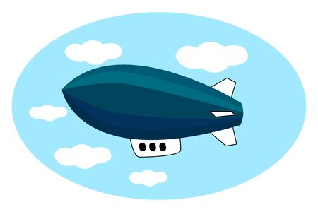 Blue airship in the sky, illustration, vector on white background.