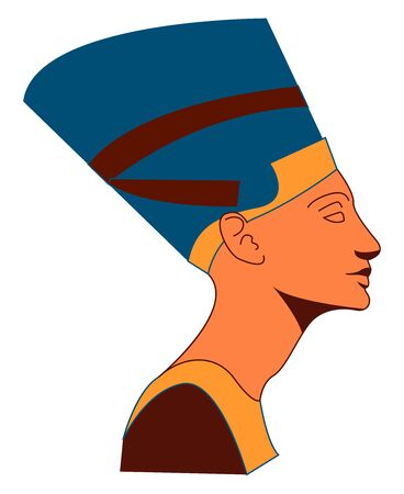 Nefertiti, illustration, vector on white background.