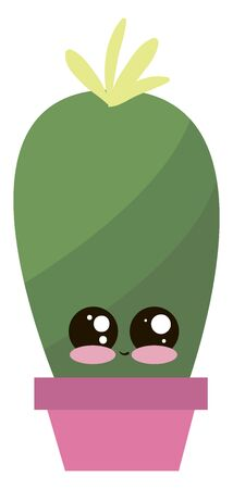 Cute little cactus in pot, illustration, vector on white background.
