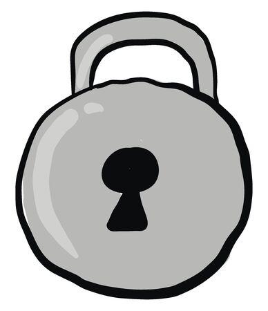 Round silver padlock, illustration, vector on white background.