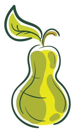 A cartoon of a green pear, vector, color drawing or illustration.