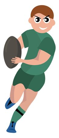 Rugby player with ball, illustration, vector on white background.