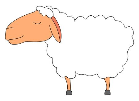Calm lamb, illustration, vector on white background.