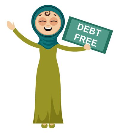 Woman is debt free, illustration, vector on white background.