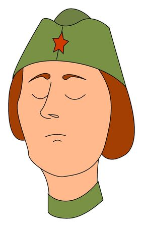 Woman soldier with hat, illustration, vector on white background.