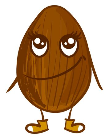 Cute almond, illustration, vector on white background