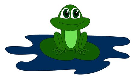 Cute green frog, illustration, vector on white background
