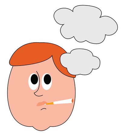 Man smoking cigar, illustration, vector on white background.