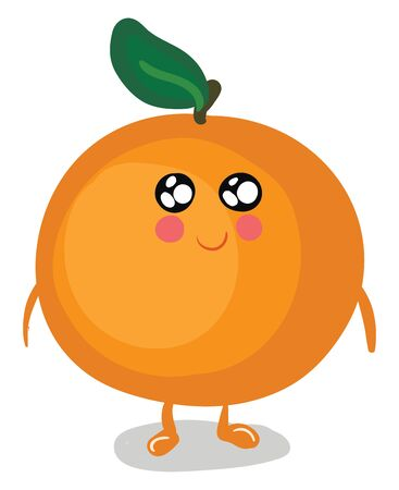 A cartoon of a happy and cute orange with rosy cheeks and sparkling eyes, vector, color drawing or illustration.