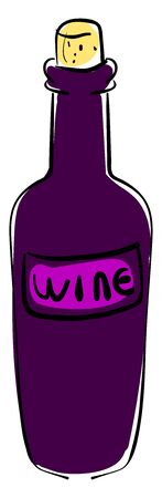 Bottle of wine, illustration, vector on white background. Stok Fotoğraf - 132788209