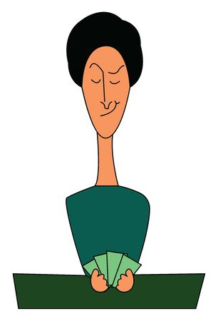 A girl in green shirt holding a cards, vector, color drawing or illustration. Illustration