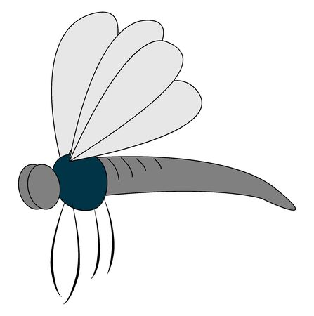 Silver mosquito, illustration, vector on white background Illustration