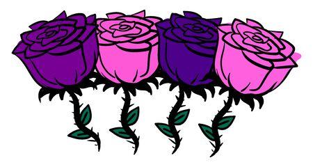 Rose and purple roses, illustration, vector on white background. Stock Illustratie