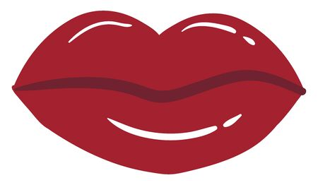 Sweet red lips, illustration, vector on white background.