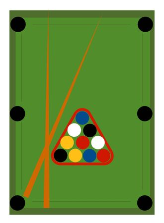 Green pool table, illustration, vector on white background.