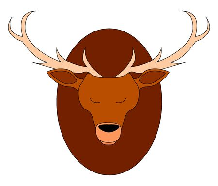 Deer head on a wall, illustration, vector on white background. Ilustração