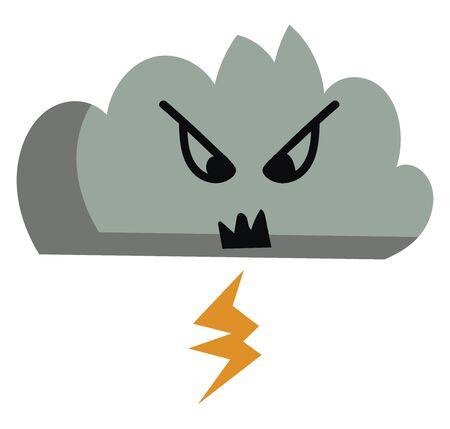 Angry cloud with thunder, illustration, vector on white background. Ilustração