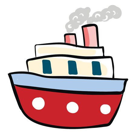 Big red boat, illustration, vector on white background.