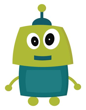 A green happy robot with big eyes, vector, color drawing or illustration.