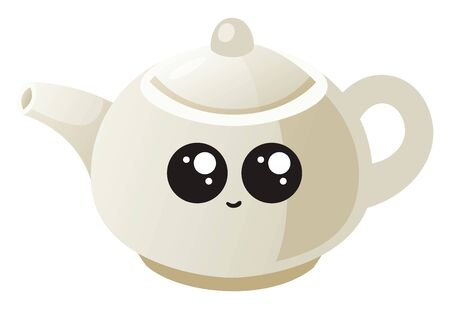Cute teapot, illustration, vector on white background.