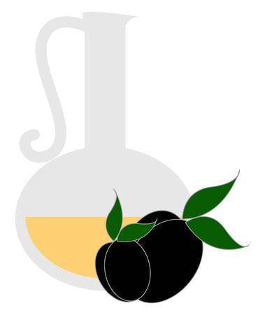 Olive oil, illustration, vector on white background