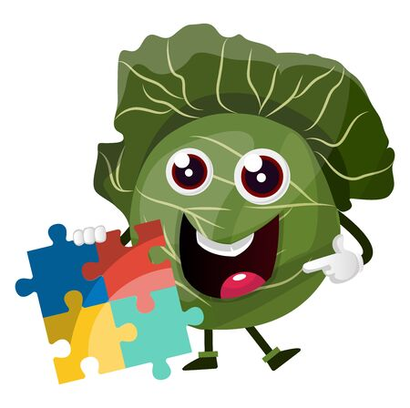 Cabbage with a puzzle, illustration, vector on white background.