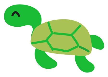 Sleeping cute turtle, illustration, vector on white background