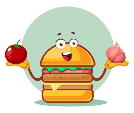 Burger is holding a tomato and garlic, illustration, vector on white background. Archivio Fotografico - 132793168