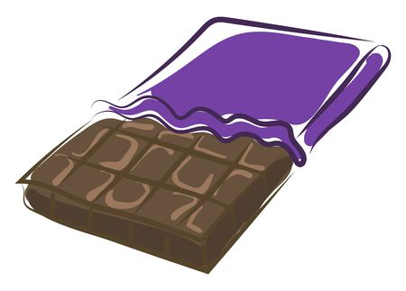 Chocolate bar, illustration, vector on white background. Banque d'images - 132790305