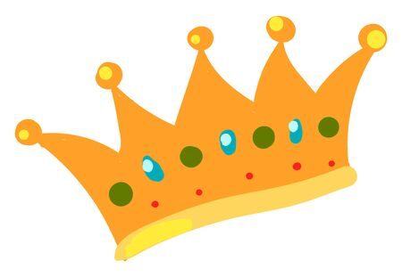Kings gold crown, illustration, vector on white background.