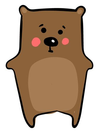 Sad little bear, illustration, vector on white background.