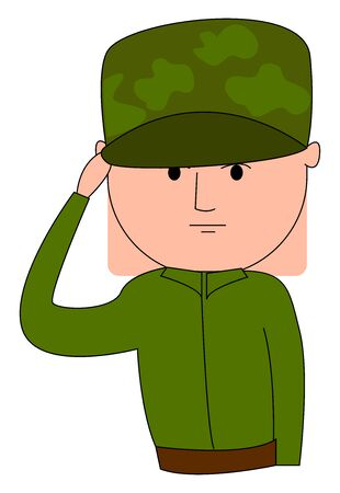 Soldier in uniform, illustration, vector on white background.