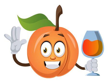 Apricot with drink, illustration, vector on white background. Ilustração