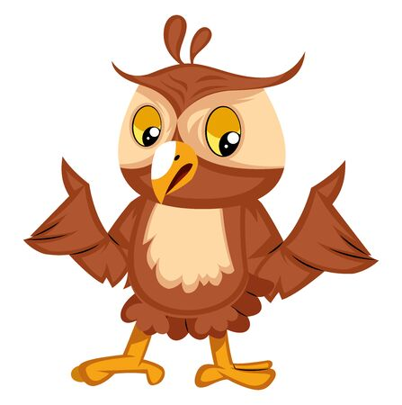 Confused owl, illustration, vector on white background.