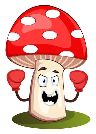 Mushroom with boxing gloves, illustration, vector on white background.