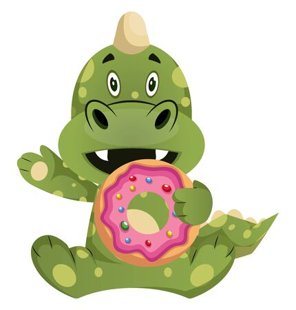 Green dragon is eating donut, illustration, vector on white background.