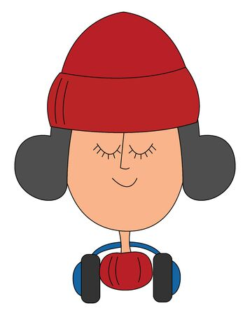 Girl with winter hat, illustration, vector on white background.