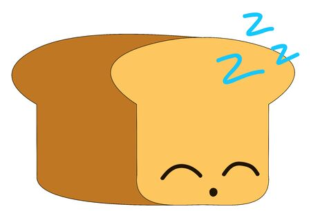 Sleeping bread, illustration, vector on white background
