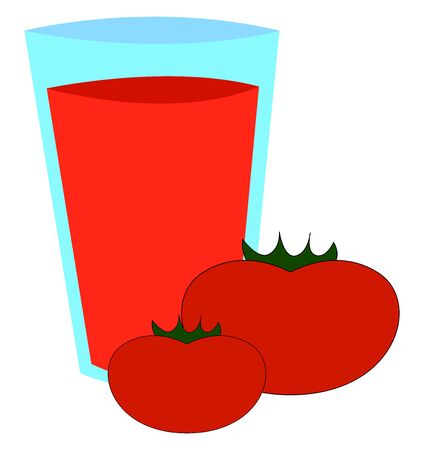 Tomato jucie in glass, illustration, vector on white background 일러스트