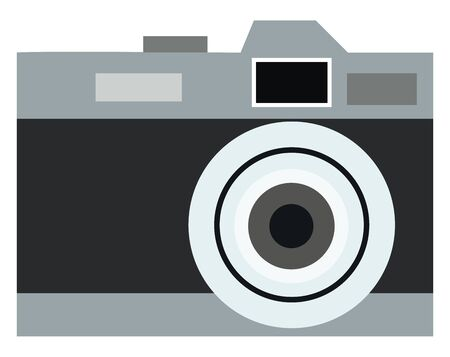 A black old model camera, vector, color drawing or illustration.