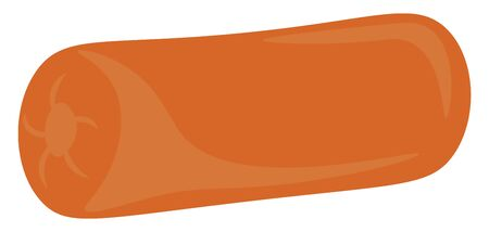 A comfortable and orange colored cylinder pillow, vector, color drawing or illustration.