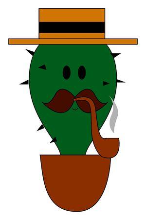 Smoking cactus, illustration, vector on white background. Иллюстрация