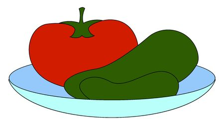 Tomato and cucumbers on plate, illustration, vector on white background 일러스트