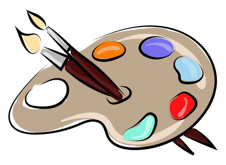 Color pallette with brushes, illustration, vector on white background Ilustração
